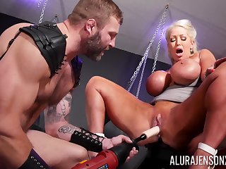 Ballpark BDSM pussy and anal for a big ass cougar on fire
