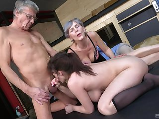 aged guy goes hideous on his busty niece's cunt along with his aged wife