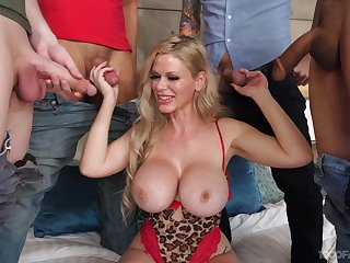Cougar with insane jugs, gangbang and rivers of cum to flood those broken up