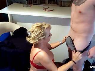 German Mom Surprises Stepson with BJ with the addition of swallows his Sperm