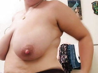 Milf with broad in the beam hangers and renowned nipples