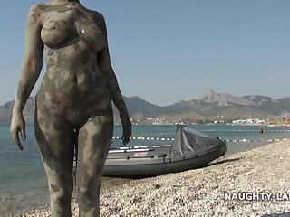 Naughty & Dirty MILF exhibitionist in mud pool on dramatize expunge public margin