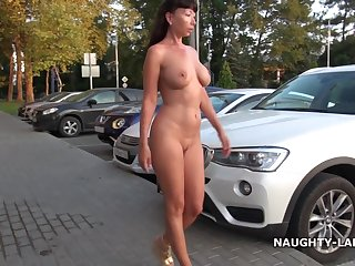 Naughty Russian MILF Put over a produce flashing and play - simply exhibitionist in downtown