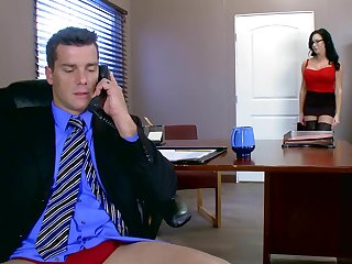 Voluptuous feminine blows and rides dick of her excited boss