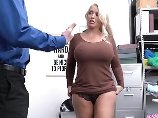 Machiavellian security officer makes the full-bosomed MILF undress