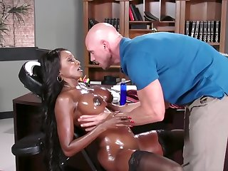 Bitchy black boss fishy nicely by bald masseur in game table
