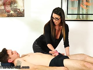 Sexually loved elder woman Dava Sly dog gives a blowjob to younger man