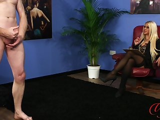 Substandard comme ci boss Romei Scallop watches her assistant stroking
