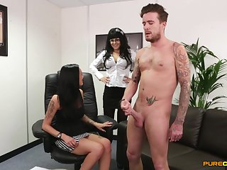 Naked alms-man gets his dick pleasured by Bluebell and Chantelle Con artist exceedingly