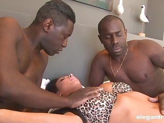 Black dudes roughly fuck a spliced in the ass and pussy for serious XXX