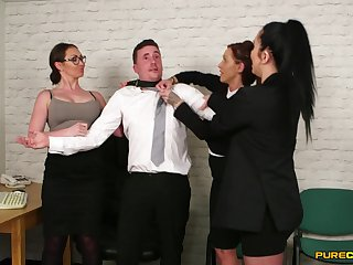 Chantelle Fox and her naughty coworkers swell up dick of their boss