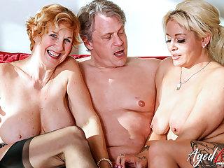 AgedLovE Two Blonde Ladies Hard Triplet Sex