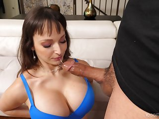 Cock hungry mature Lexi Luna drops on her knees to give a blowjob