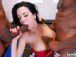 Sweet MILF with huge tits, perfect threesome between two BBCs