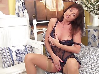 Horny chick Lucy Heart plays with their way nipples with an increment of wet fuck hole