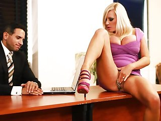 BDSM fuck for Michelle Thorne, who became turned on in the office