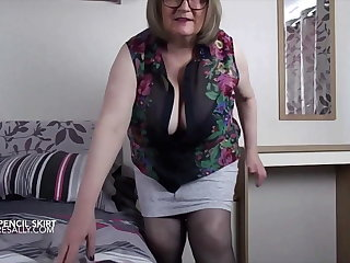 Sally's big belly everywhere a very tight skirt