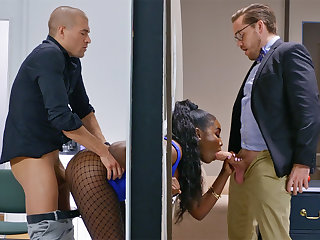 Insatiable bosses ravaged stuck bootylicious dark-hued on every side the ditch