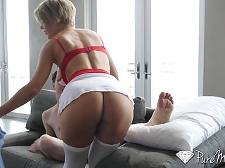 Fit MILF stepmom helps her horny stepson recover faster by fucking him