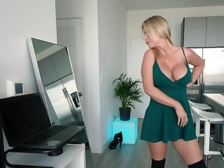 Busty blond MILF masturbates being completely alone within reach home