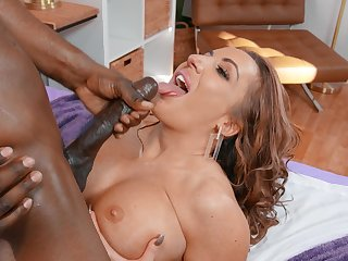 Interracial sex in the bedroom with large jugs cougar Richelle Ryan