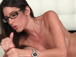Nerdy girl Dava Foxxx grabs go wool-gathering hard cock with the addition of strokes it