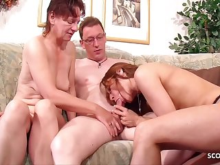 Two German Mature Seduce Nerd Neigbhour Beside Threesome Sex