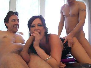 MILF deals two big cocks nigh a smashing threesome