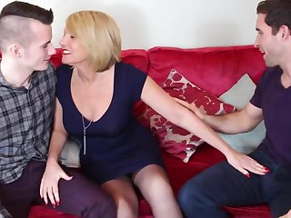 Mature mother fucked hard by two young sons