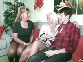 German Sham MOM plus AUNT Fuck Daughter Togehter at Family Time