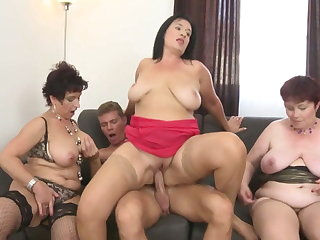 Granny and busty moms parcelling young son