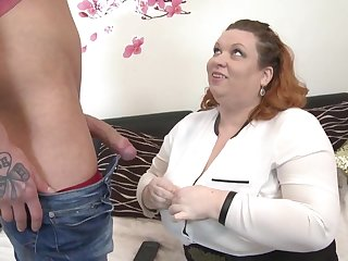 Pompously BBW mother seduce young starved son