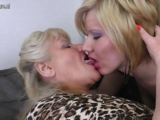 Granny fucks mature mother and young girl