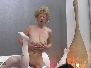 Venerable grannies fuck one young lesbian girl