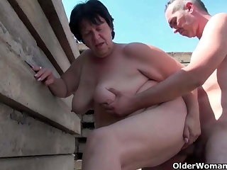 Ugly grandma with 1 inch nipples fucked out like a light