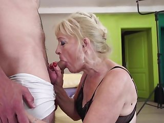 Old Grandmother drag inflate and fuck young boy