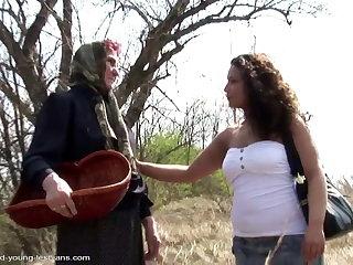 Village story - ancient slobbovian granny fucking young girl