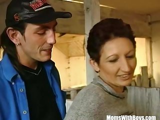 Brunette Lady Farmer Hairy Pussy Cowshed Fucked
