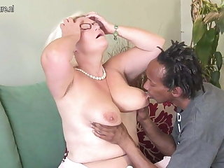 White grandma fucks black skinny boy