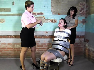 Lesbian BDSM Chained plus Electro Tortured MILF Resultant