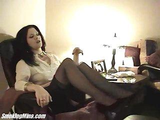 Pretty cougar in nylon stockings masturbating after a long time displaying her hot ass