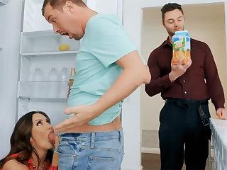 Wife's big gut seduced nanny to fuck hardcore