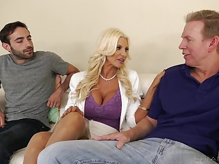 Distinguished racked kermis MILF Brittany Andrews works on two fat stumble cocks
