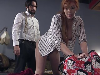 Setaceous guy ties up and fucks red-hot haired filial Lauren Phillips