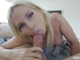 POV blowjob and sex with a stunning blonde