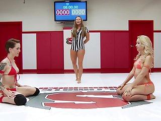 Catfight in a MMA boom with pornstars Ariel X and Mistress Kara