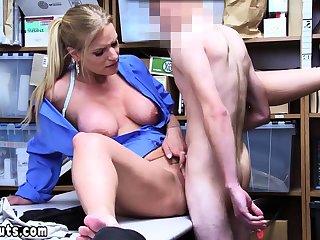 Cock addict MILF LP office-holder examines suspects beamy cock