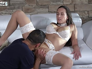 Wearing white stuff stunning MILF Mea Melone rides sloppy cock beyond everything top