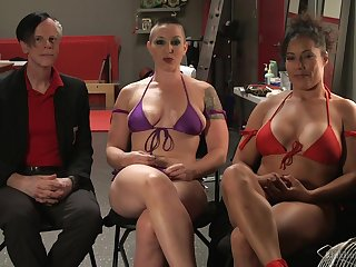 Busty babe Ariel X gets dominated by strong comprehensive Mistress Kara