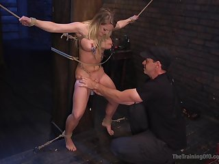 Busty wife tries a kinky BDSM play beside resemble manner